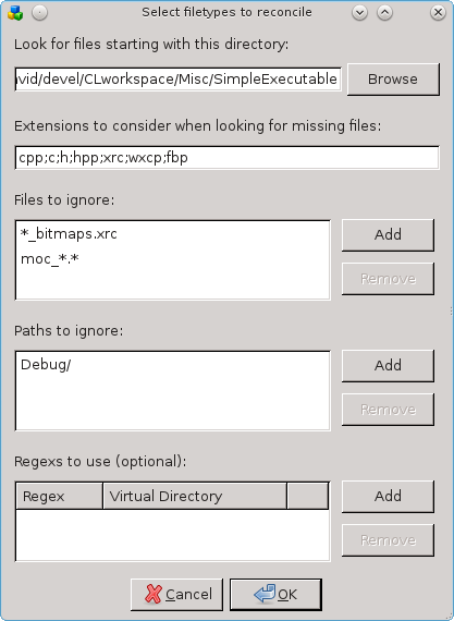 The filetypes dialog