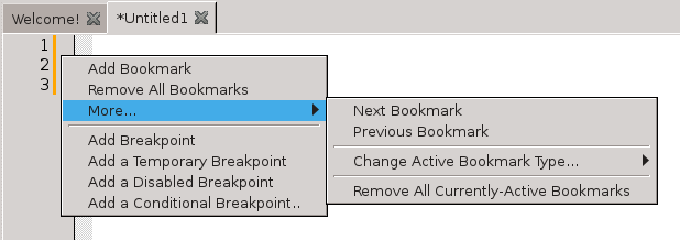 The editor context-menu
