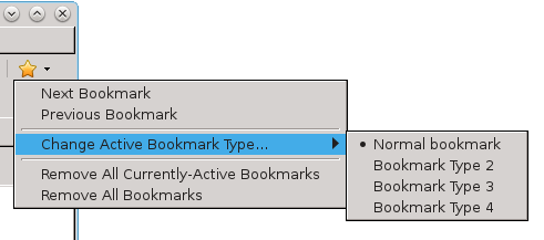The Bookmarks tool dropdown menu