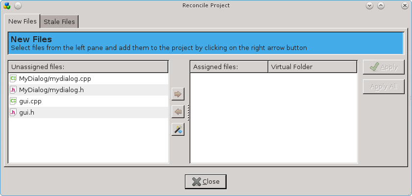 The New Files section of the ReconcileProject dialog