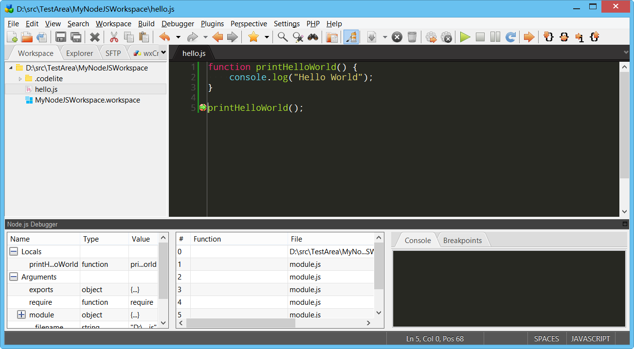 CodeLite IDE   Main / Nodejs